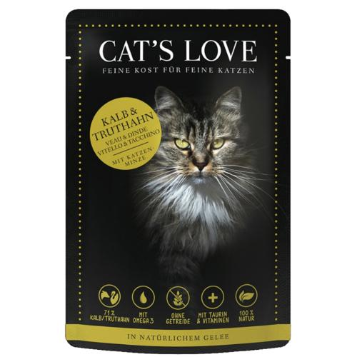 CAT'S LOVE - Gelée Mix Veau & Dinde Chat Adulte - 85gr