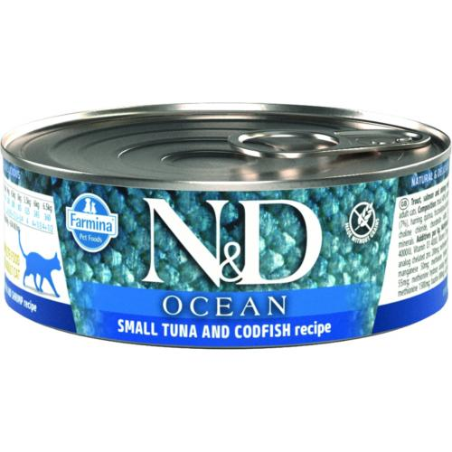 FARMINA N&D - Boîte OCEAN Bonite, Morue & Crevette Chat Adulte - 80gr
