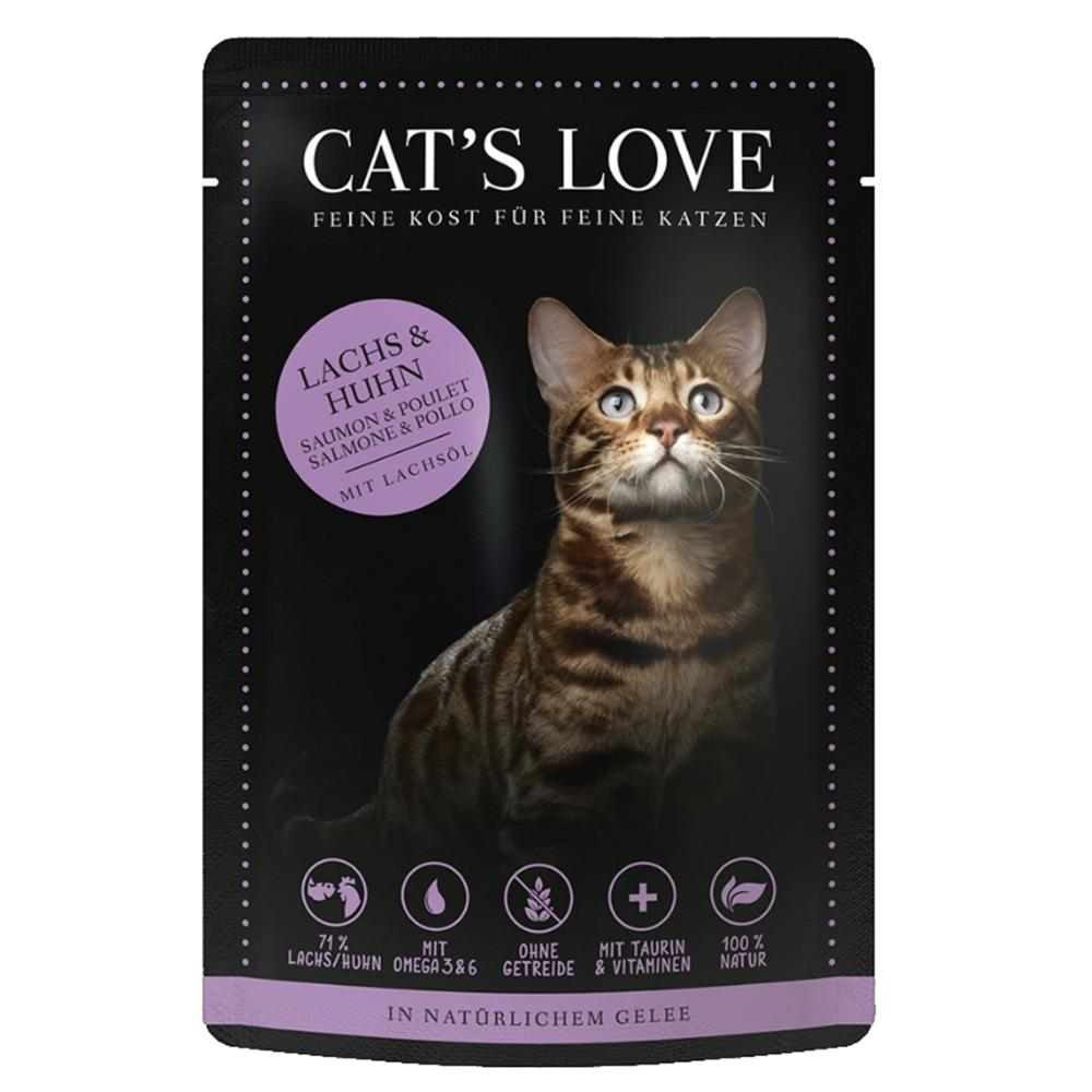 CAT'S LOVE - Gelée Mix Saumon & Poulet Chat Adulte - 85gr