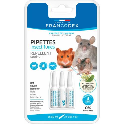 FRANCODEX - Pipettes Insectifuges Rats, Souris et Hamsters