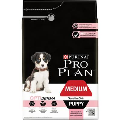 PRO PLAN - Croquette OPTI DERMA Saumon Chiot Puppy Medium peau sensible - 3kg