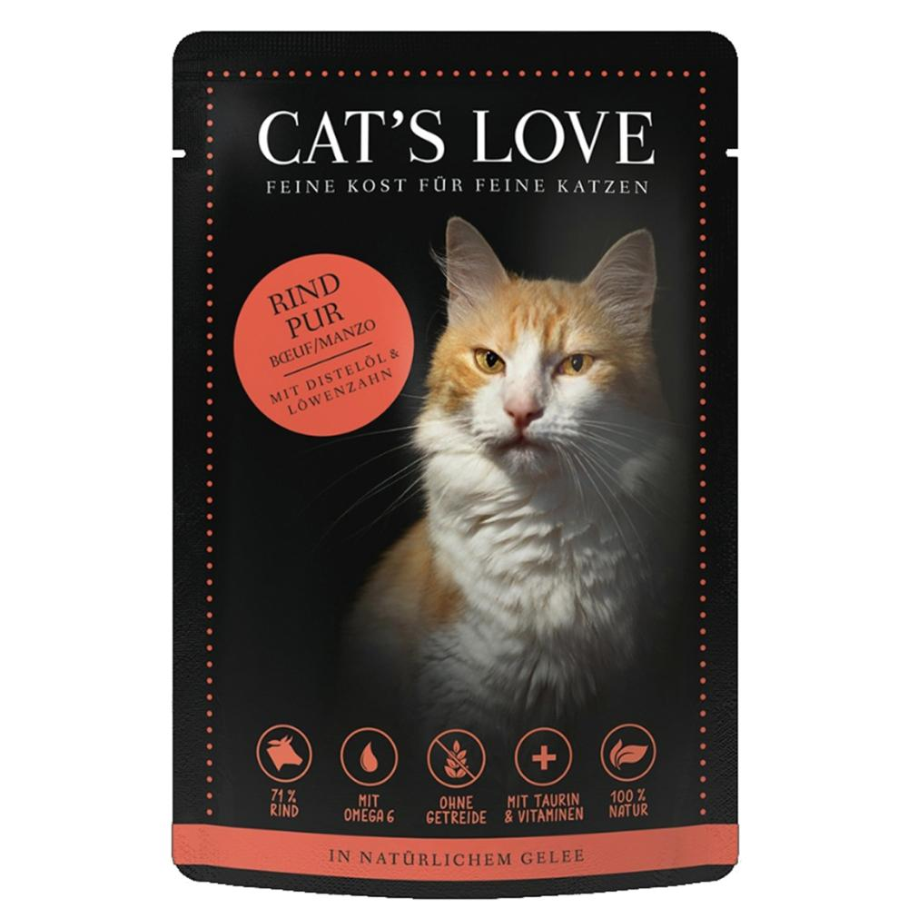 CAT'S LOVE - Gelée Classic Boeuf Pur Chat Adulte - 85gr
