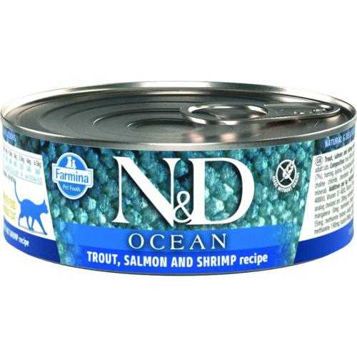 FARMINA N&D - Boîte OCEAN Truite, Saumon & Crevette Chat Adulte - 80gr